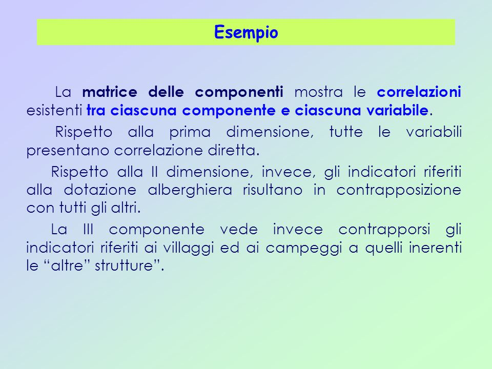 Esempio La matrice delle componenti mostra le correlazioni esistenti tra ciascuna componente e ciascuna variabile.