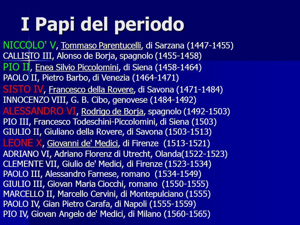 I Papi del periodo