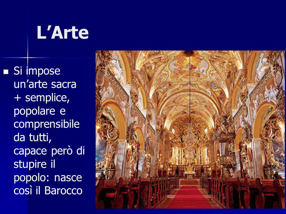L'Arte Si impose un'arte sacra + semplice, popolare e comprensibile da tutti, capace però di stupire il popolo: nasce così il Barocco.