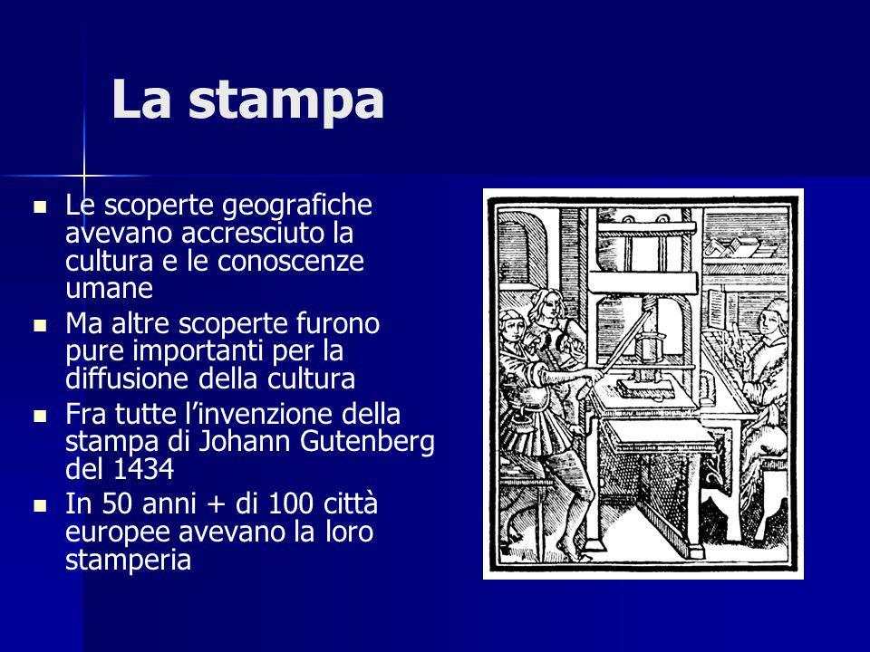 La stampa Le scoperte geografiche avevano accresciuto la cultura e le conoscenze umane.