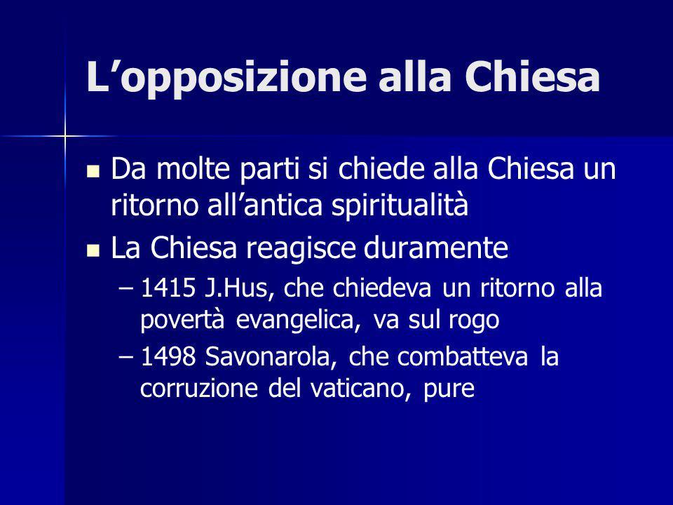 L'opposizione alla Chiesa