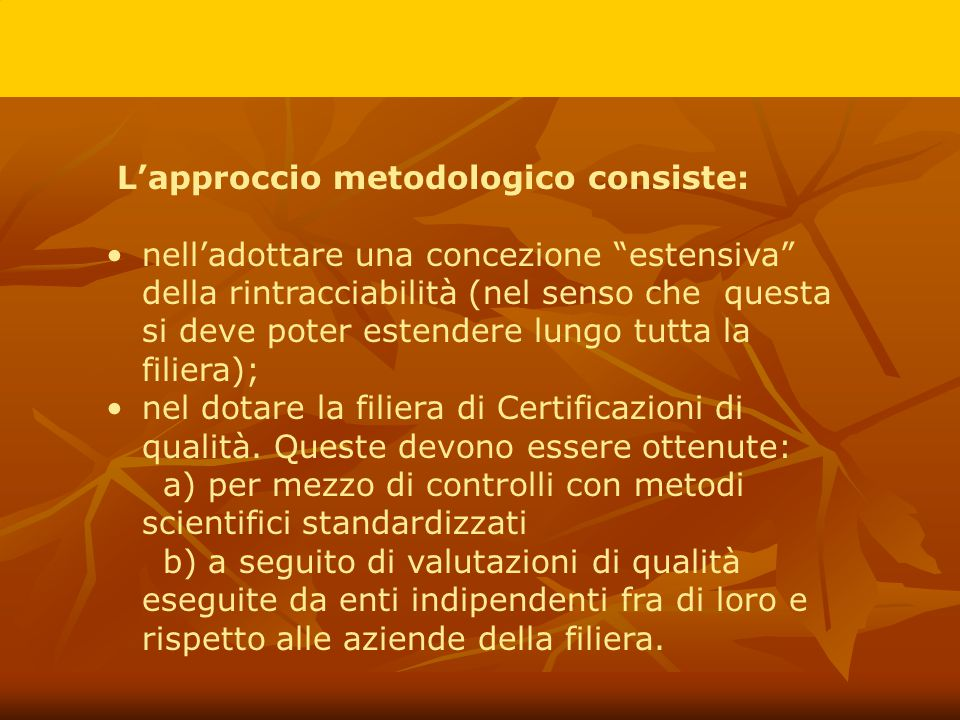 L'approccio metodologico consiste: