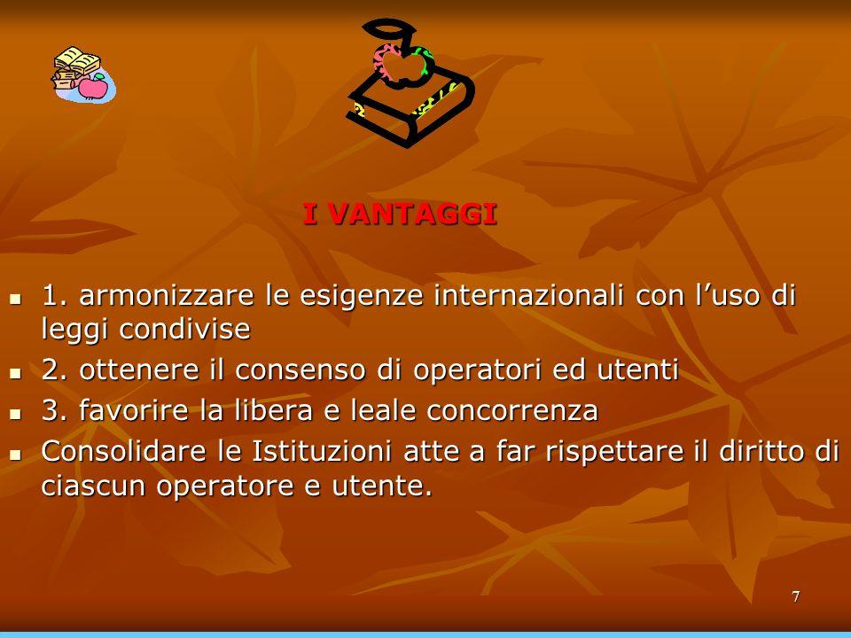 I VANTAGGI 1. armonizzare le esigenze internazionali con l'uso di leggi condivise. 2. ottenere il consenso di operatori ed utenti.