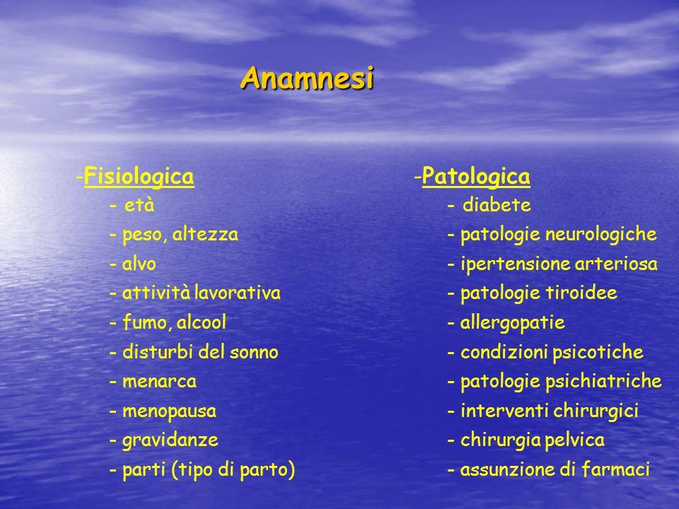 Anamnesi Fisiologica Patologica età peso, altezza alvo