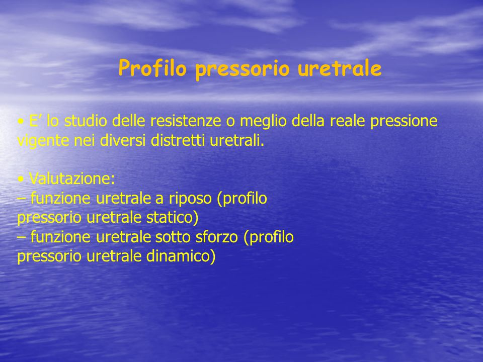 Profilo pressorio uretrale