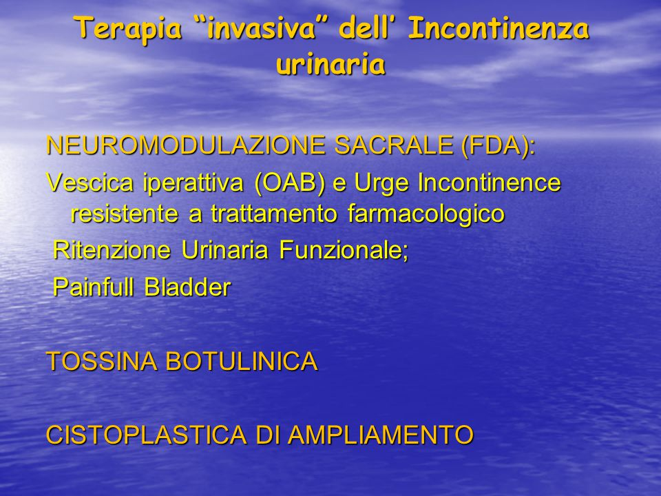 Terapia invasiva dell' Incontinenza urinaria