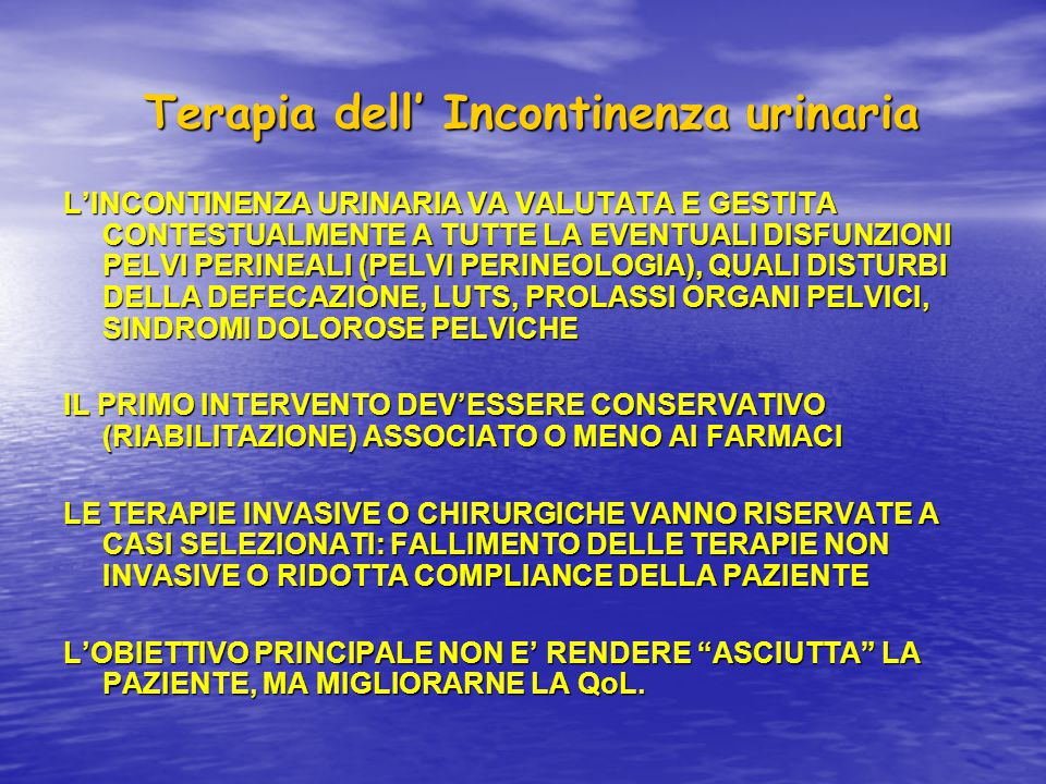 Terapia dell' Incontinenza urinaria