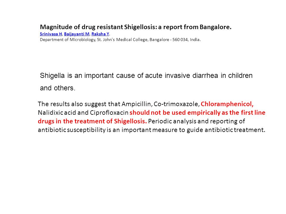 Magnitude of drug resistant Shigellosis: a report from Bangalore.
