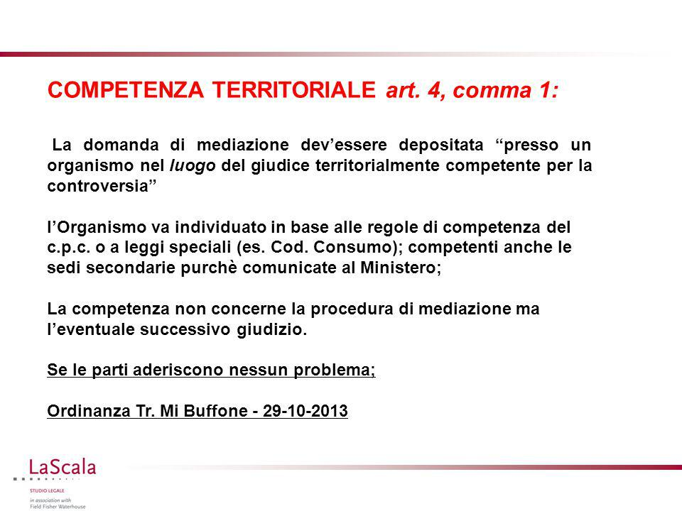 COMPETENZA TERRITORIALE art. 4, comma 1: