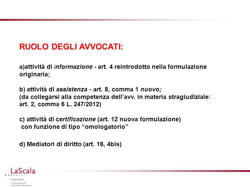 RUOLO DEGLI AVVOCATI: attività di informazione - art. 4 reintrodotto nella formulazione originaria;