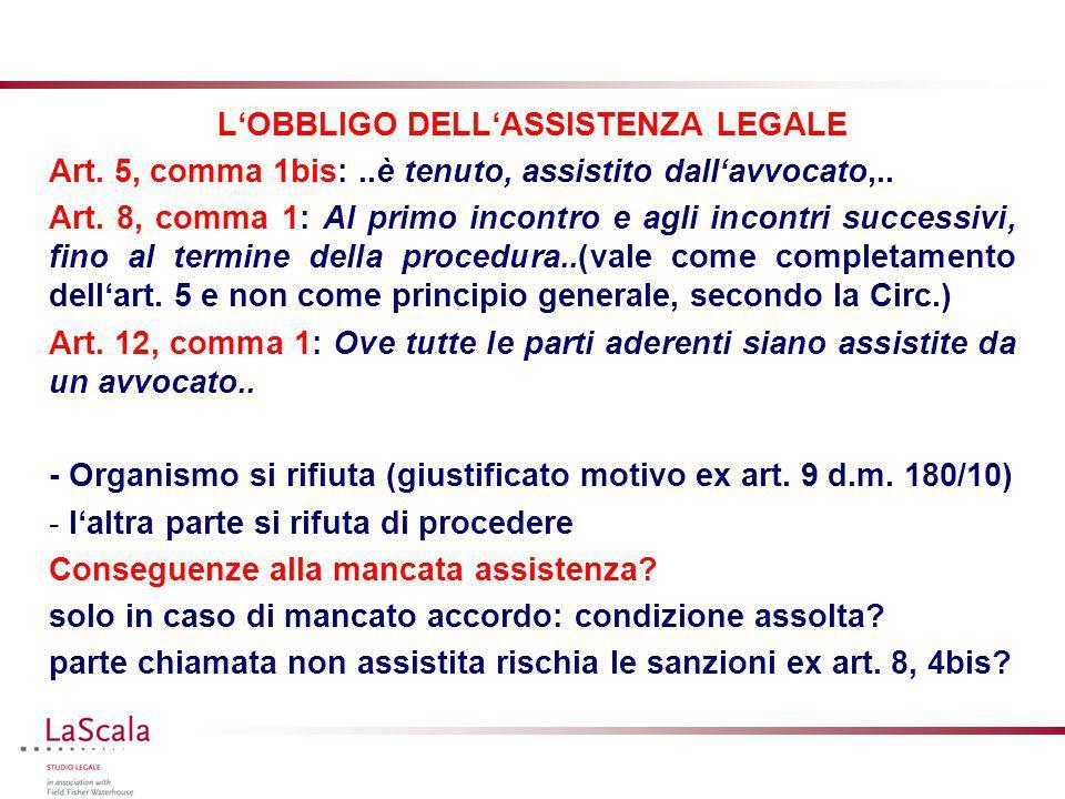 L'OBBLIGO DELL'ASSISTENZA LEGALE