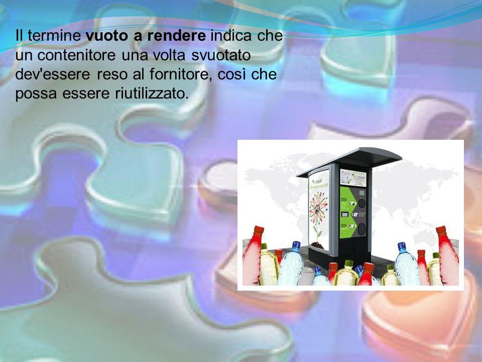 Il termine vuoto a rendere indica che un contenitore una volta svuotato dev essere reso al fornitore, così che possa essere riutilizzato.