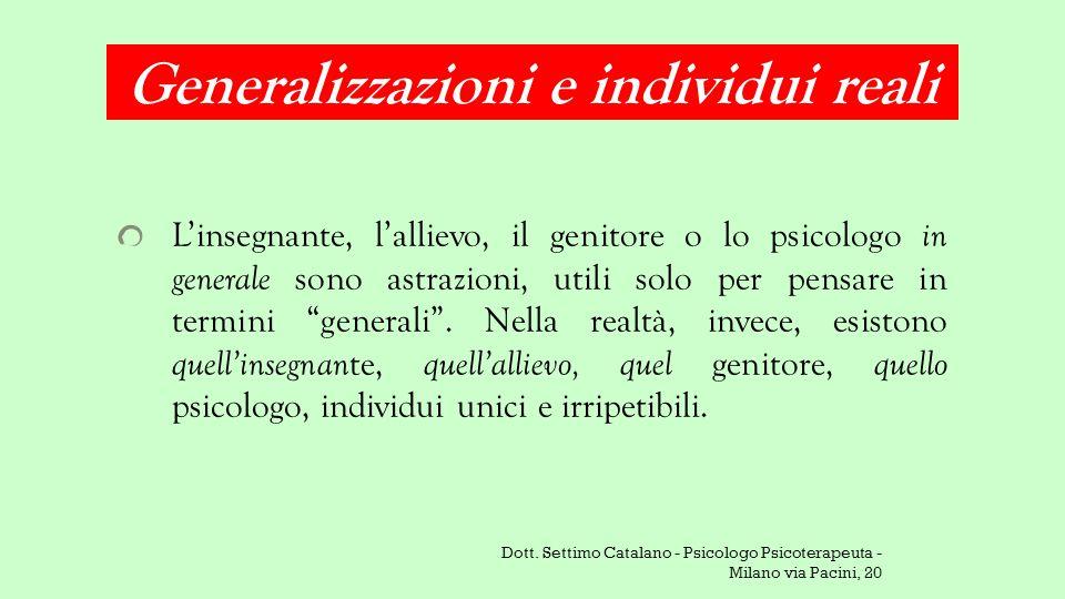 Generalizzazioni e individui reali