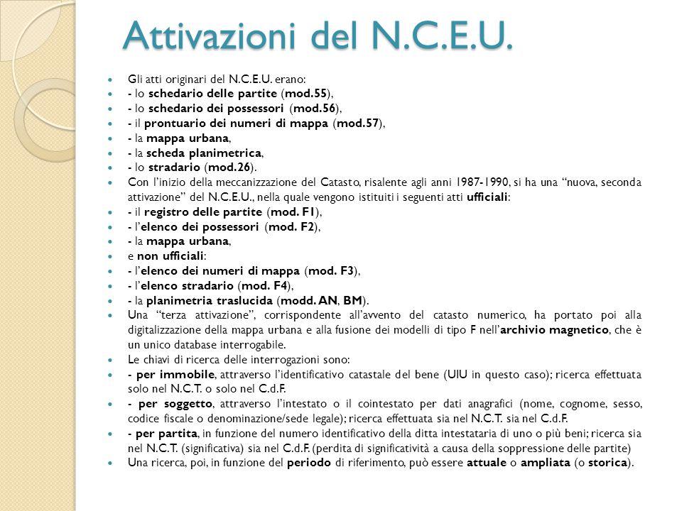 Attivazioni del N.C.E.U. Gli atti originari del N.C.E.U. erano: