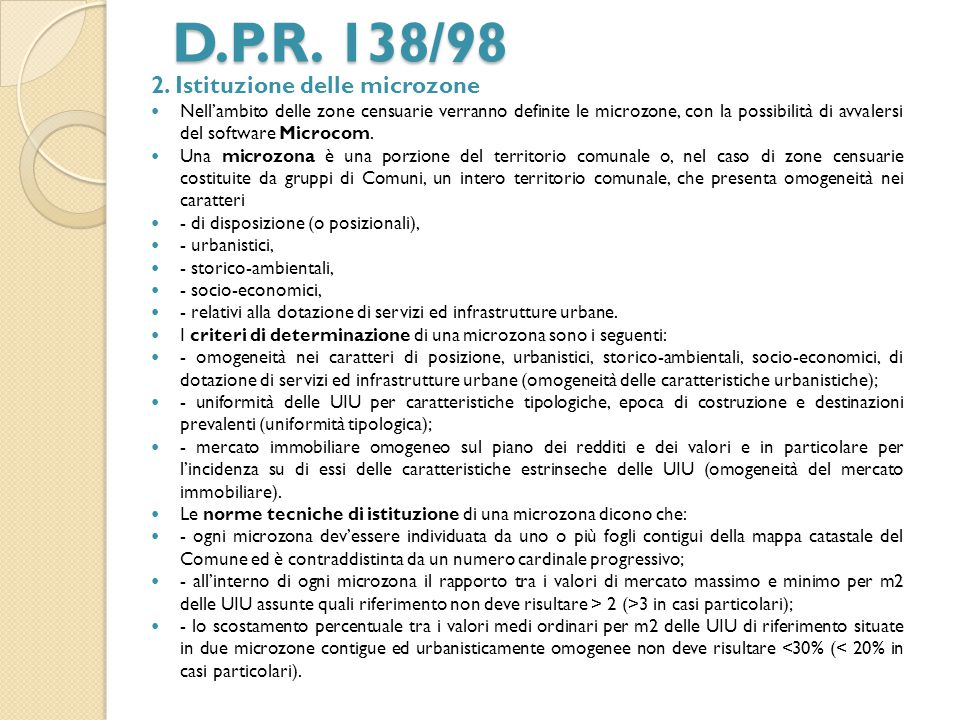 D.P.R. 138/98 2. Istituzione delle microzone