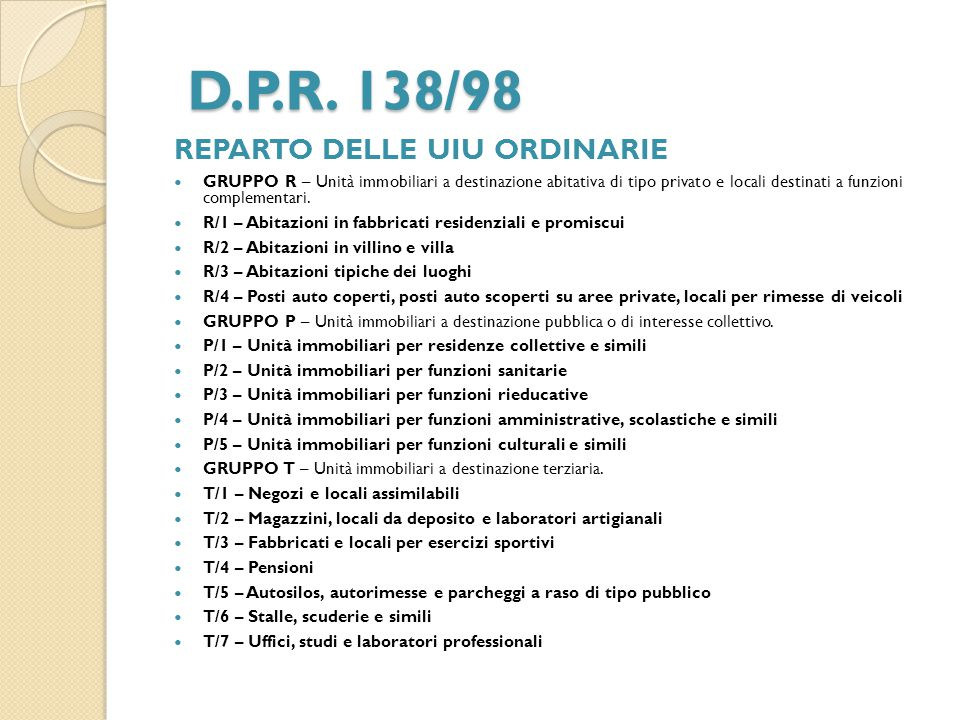 D.P.R. 138/98 REPARTO DELLE UIU ORDINARIE