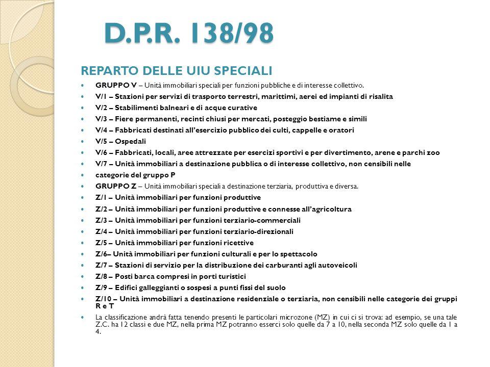 D.P.R. 138/98 REPARTO DELLE UIU SPECIALI