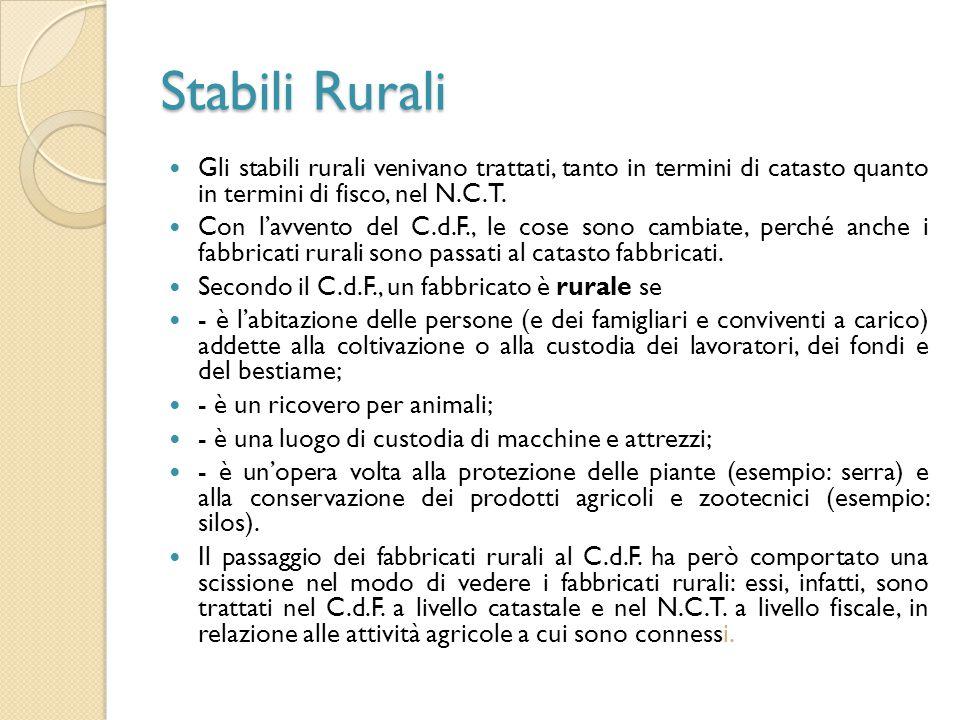Stabili Rurali Gli stabili rurali venivano trattati, tanto in termini di catasto quanto in termini di fisco, nel N.C.T.