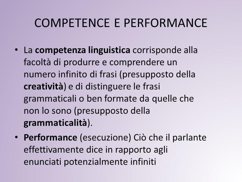 COMPETENCE E PERFORMANCE
