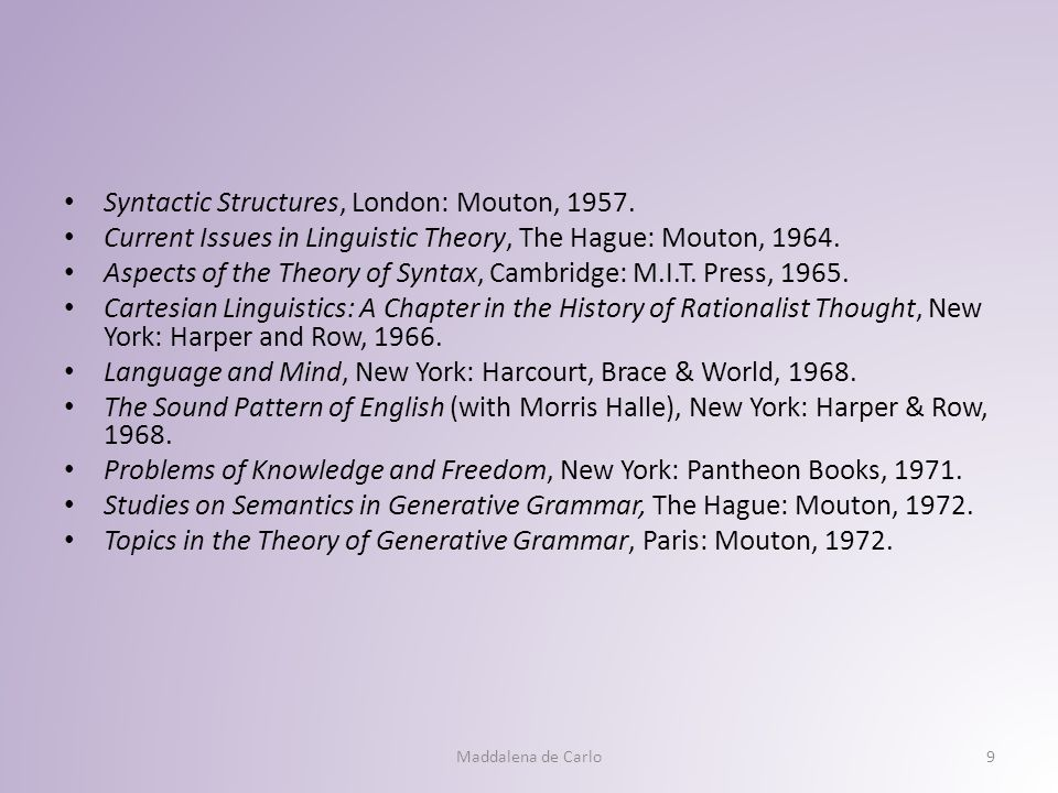 Syntactic Structures, London: Mouton, 1957.