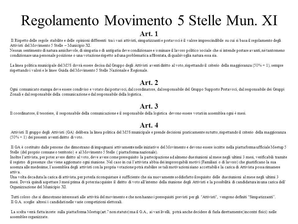 Regolamento Movimento 5 Stelle Mun. XI
