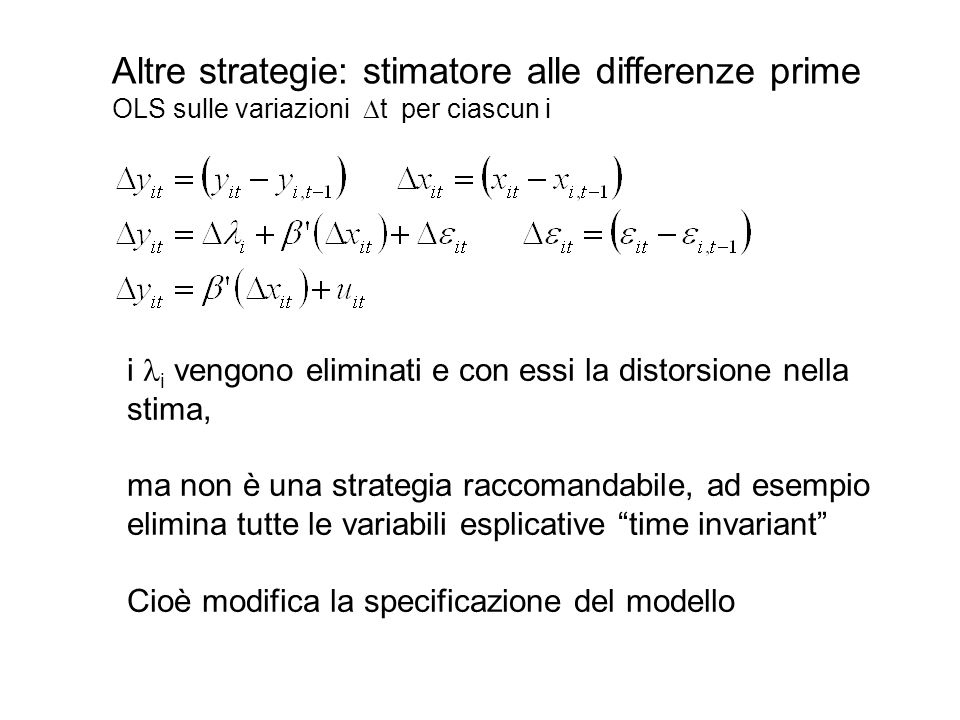 Altre strategie: stimatore alle differenze prime