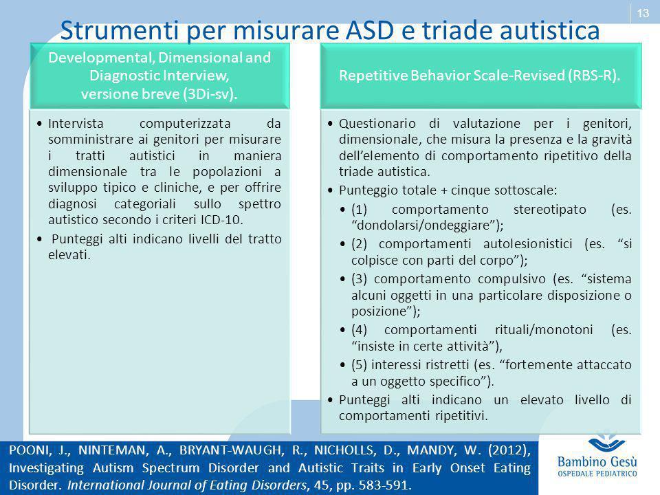 Strumenti per misurare ASD e triade autistica
