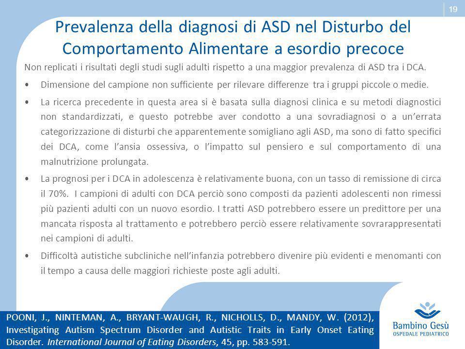 Prevalenza della diagnosi di ASD nel Disturbo del Comportamento Alimentare a esordio precoce