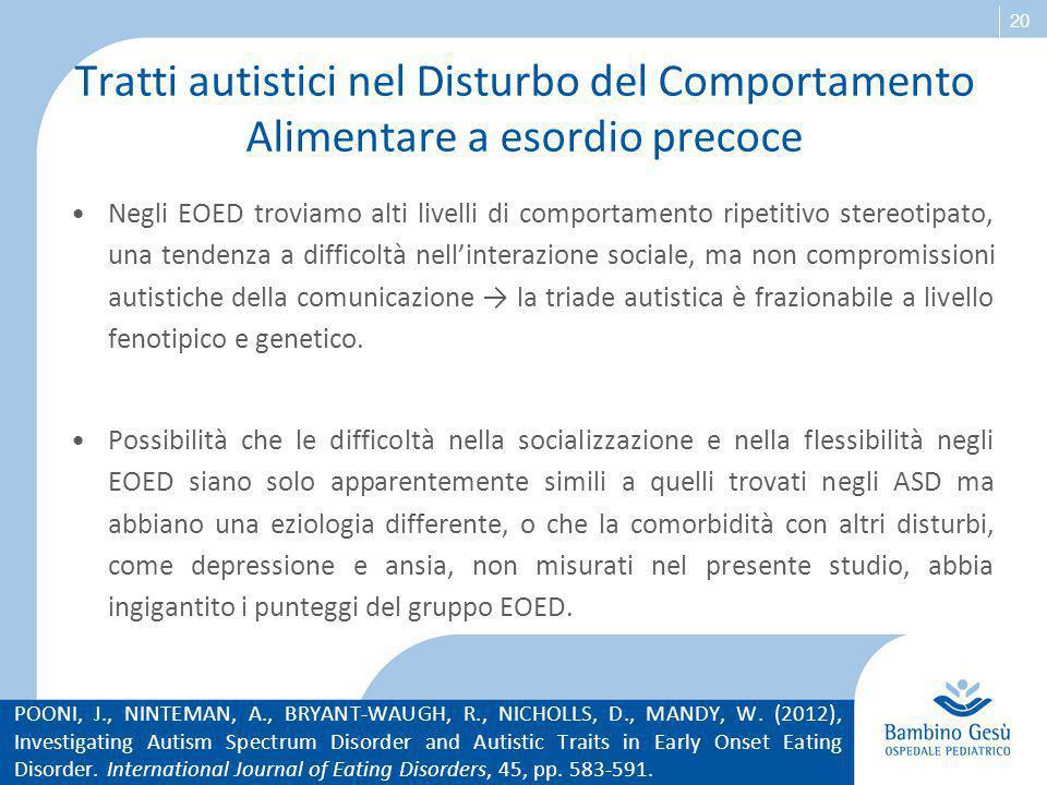 Tratti autistici nel Disturbo del Comportamento Alimentare a esordio precoce