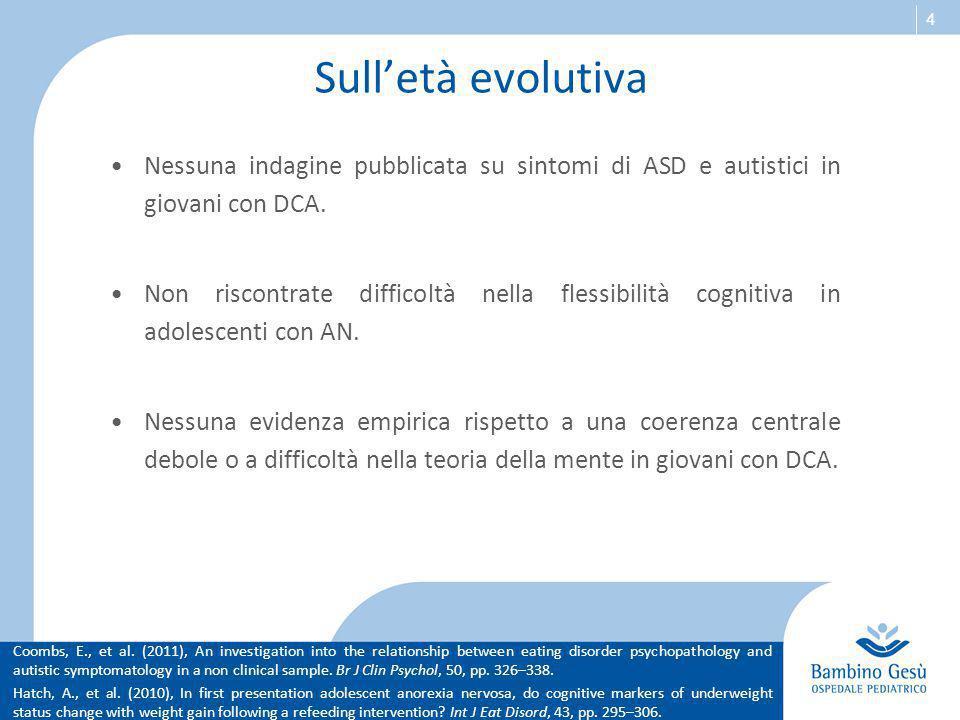 Sull'età evolutiva Nessuna indagine pubblicata su sintomi di ASD e autistici in giovani con DCA.