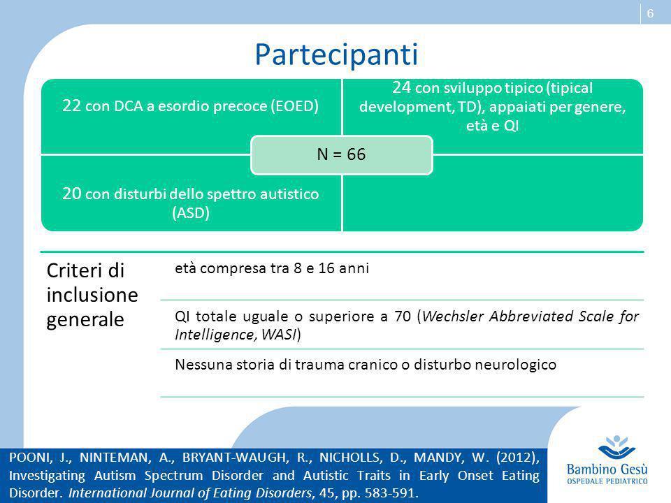 Partecipanti Criteri di inclusione generale