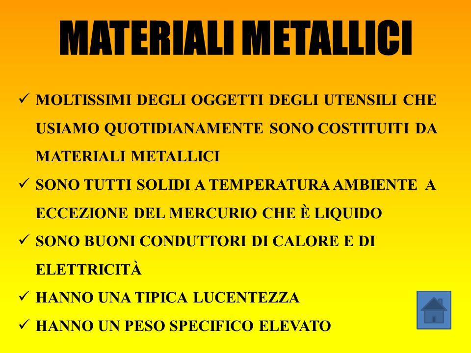 MATERIALI METALLICI MOLTISSIMI DEGLI OGGETTI DEGLI UTENSILI CHE USIAMO QUOTIDIANAMENTE SONO COSTITUITI DA MATERIALI METALLICI.