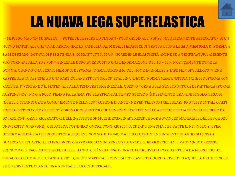 LA NUAVA LEGA SUPERELASTICA