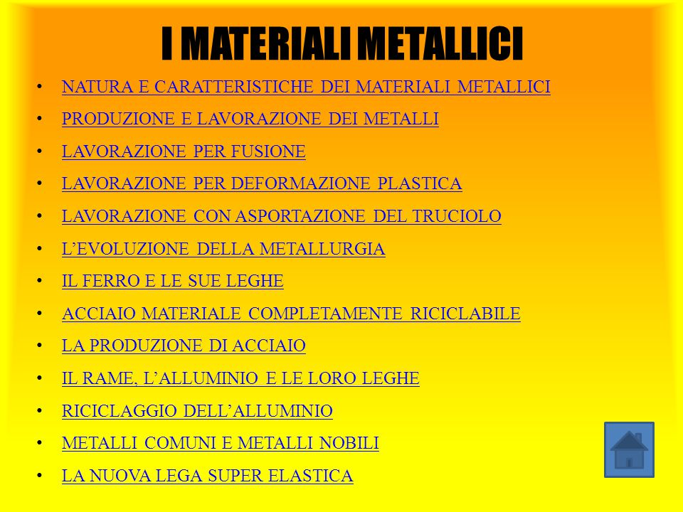 I MATERIALI METALLICI NATURA E CARATTERISTICHE DEI MATERIALI METALLICI