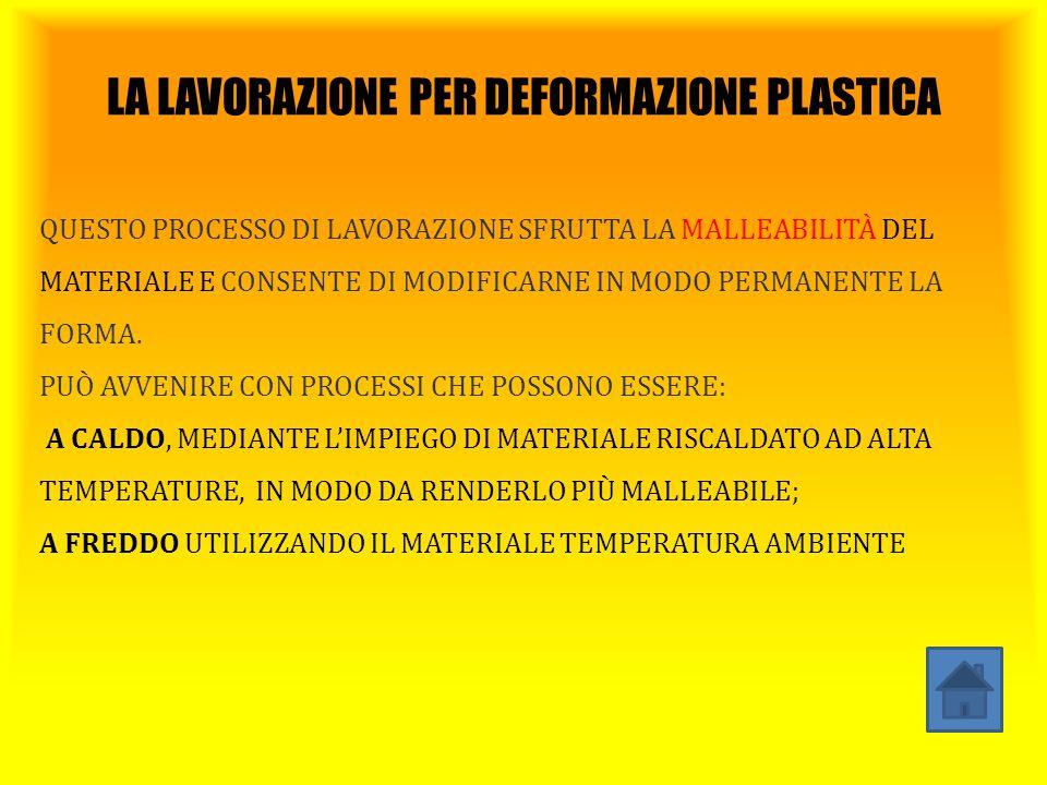 LA LAVORAZIONE PER DEFORMAZIONE PLASTICA