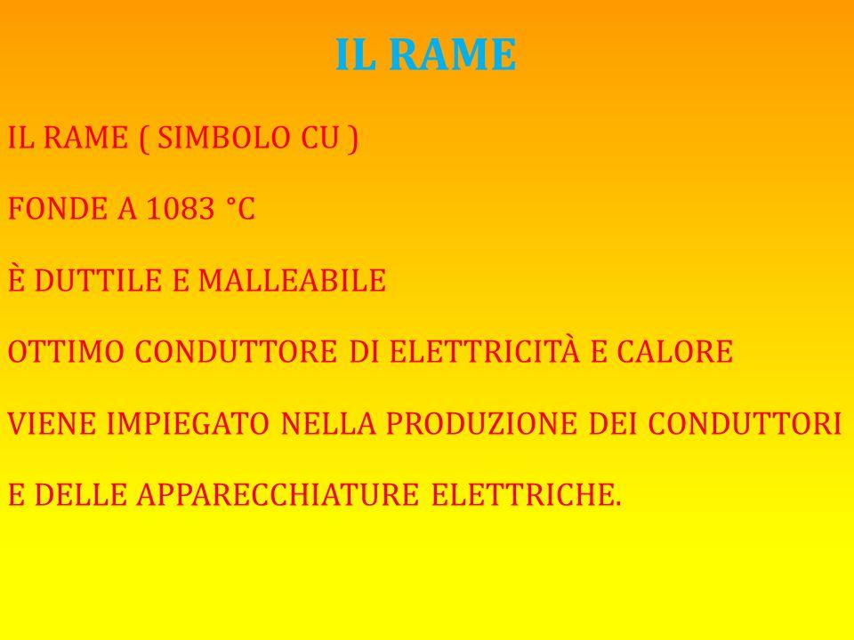 IL RAME IL RAME ( SIMBOLO CU ) FONDE A 1083 °C È DUTTILE E MALLEABILE