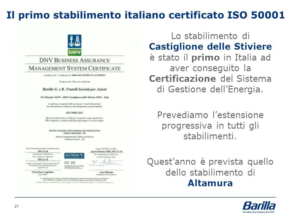 Il primo stabilimento italiano certificato ISO 50001