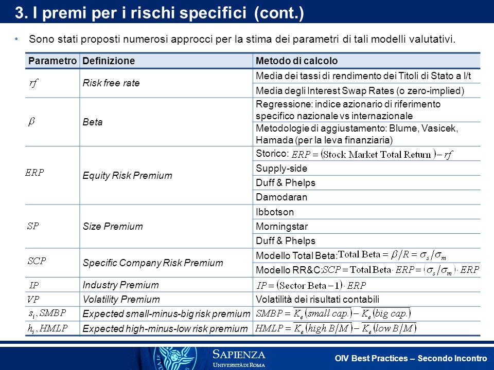 3. I premi per i rischi specifici (cont.)