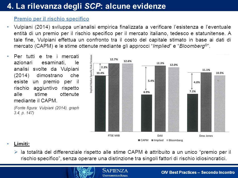 4. La rilevanza degli SCP: alcune evidenze
