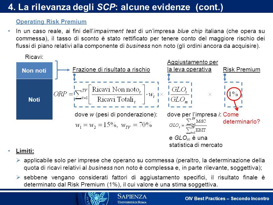 4. La rilevanza degli SCP: alcune evidenze (cont.)