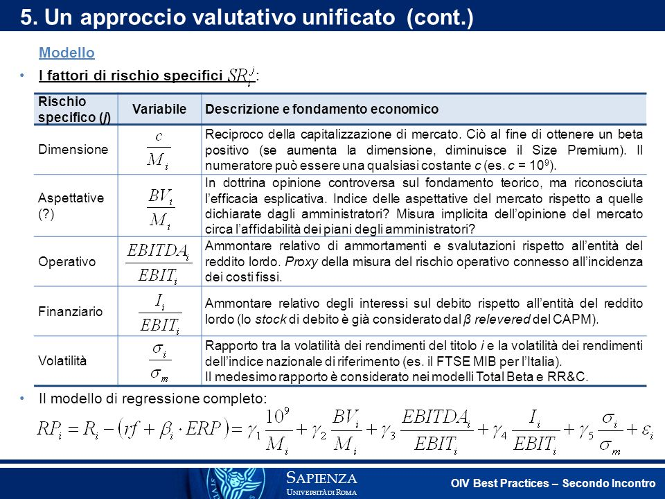 5. Un approccio valutativo unificato (cont.)