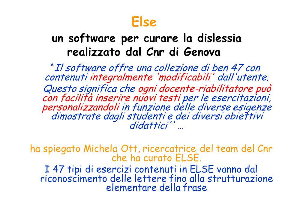 Else un software per curare la dislessia realizzato dal Cnr di Genova