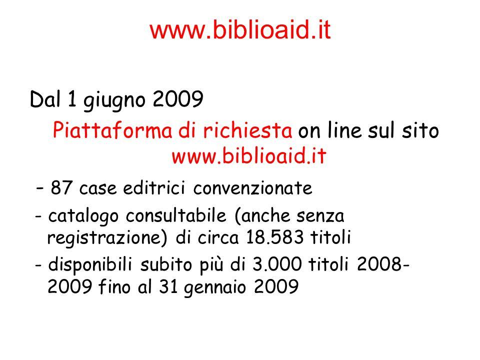 Piattaforma di richiesta on line sul sito www.biblioaid.it