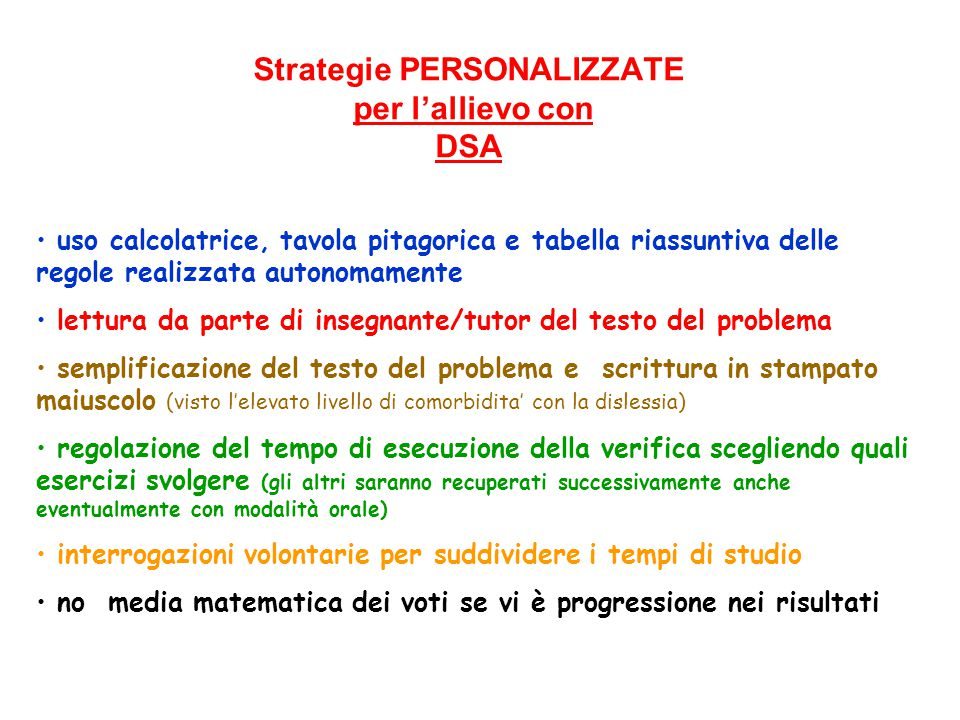 Strategie PERSONALIZZATE per l'allievo con DSA