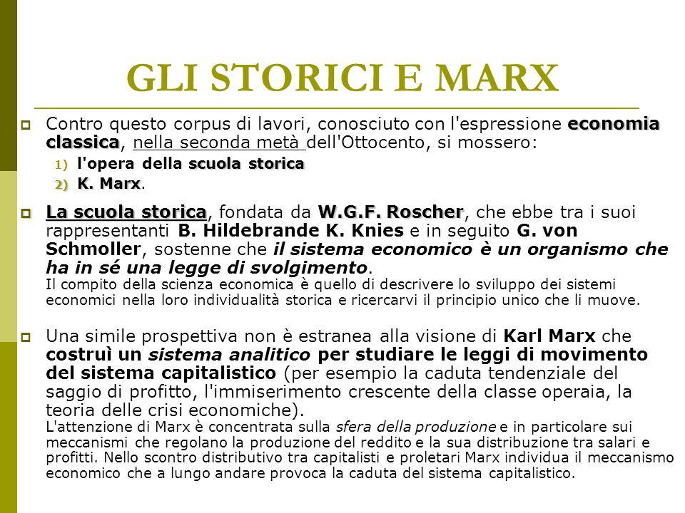 GLI STORICI E MARX Contro questo corpus di lavori, conosciuto con l espressione economia classica, nella seconda metà dell Ottocento, si mossero: