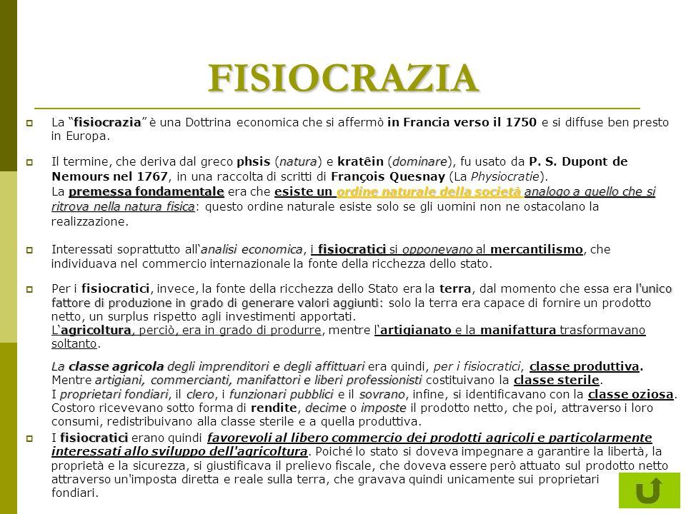 FISIOCRAZIA La fisiocrazia è una Dottrina economica che si affermò in Francia verso il 1750 e si diffuse ben presto in Europa.