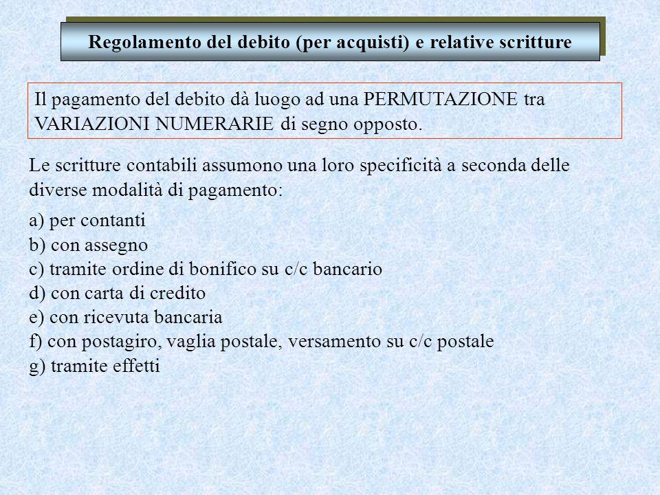 Regolamento del debito (per acquisti) e relative scritture