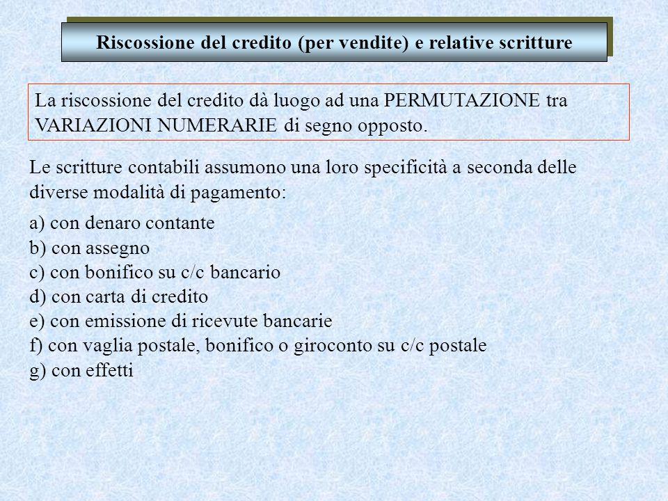 Riscossione del credito (per vendite) e relative scritture