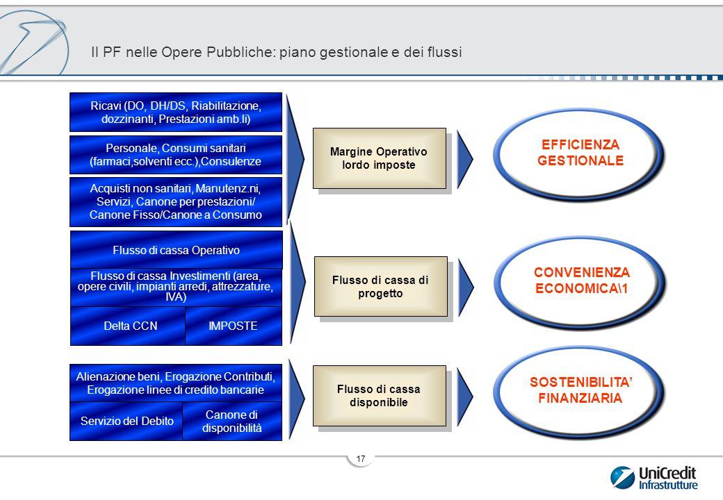 Struttura PF: il Piano Gestionale e struttura del Project Cash Flow