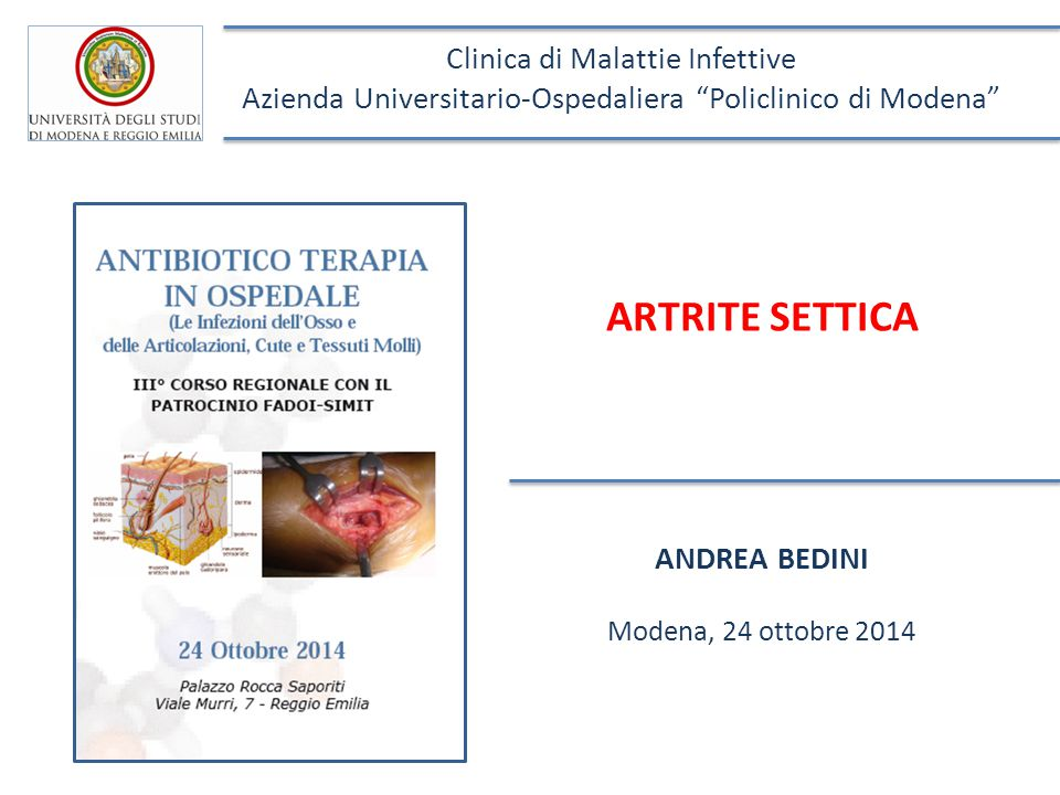 ARTRITE SETTICA Clinica di Malattie Infettive